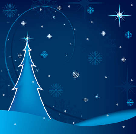 winter background with Cristmas tree and snowflakes falling Stock Vector - 3633888