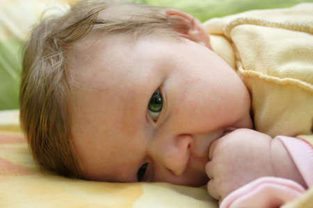 little child lying on a stomach and looking to the camera  photo