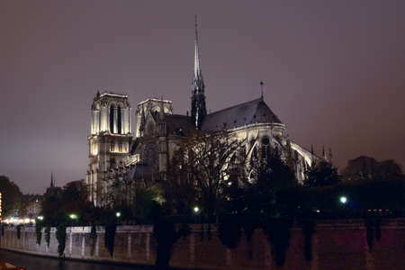 Notre Dame de Paris at the night time illuminated by a lot of lights  photo