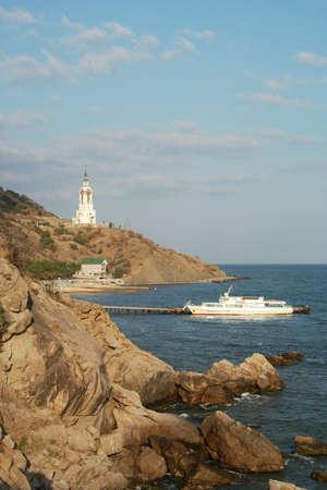 church on a knap in the Crimea  Stock Photo