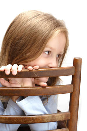 hack: little girl posing leaning on a chair hack