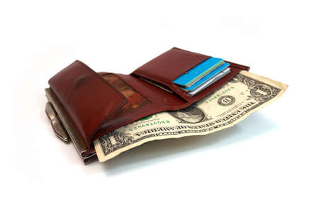 woman purse with one dollar banknote within on a white background