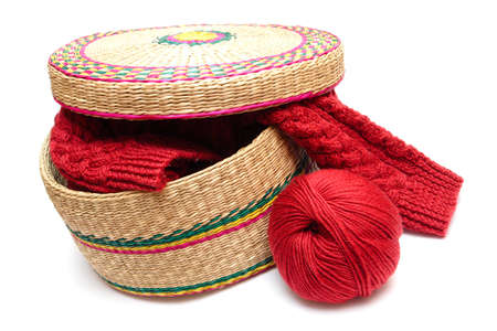 wooly: frail full of wooly and red clew lying near  Stock Photo