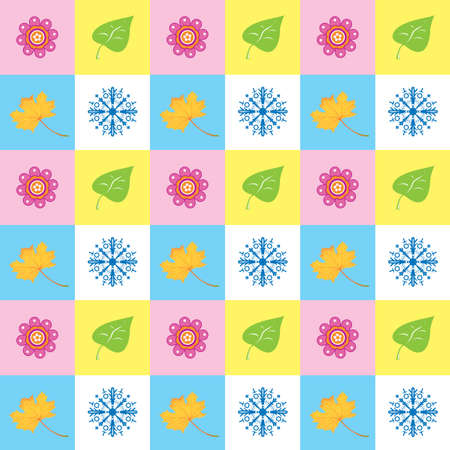 abstract square background with different seasons symbols Stock Vector - 5777906