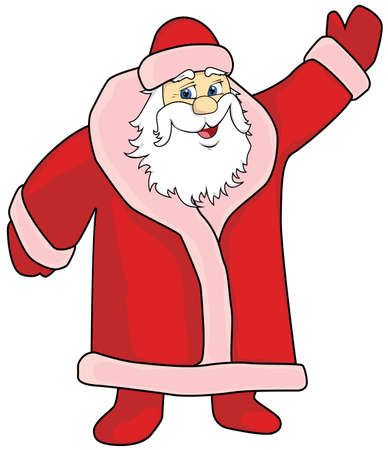cheerful Santa Claus in red with hand lifted up Ilustração