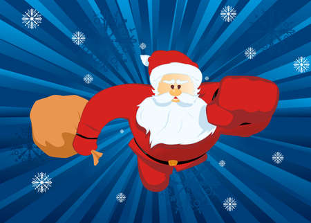 Santa Claus - Superman holding a sack full of gifts flying to save us Vector