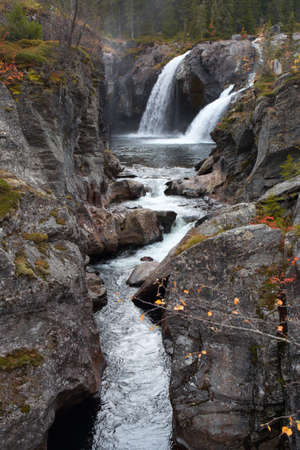 two large waterfall in the autumn woods, norway  photo