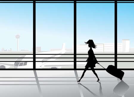 Silhouette der Mädchen, die zu Fuß durch die Flughafen-Fenster Standard-Bild - 6162479