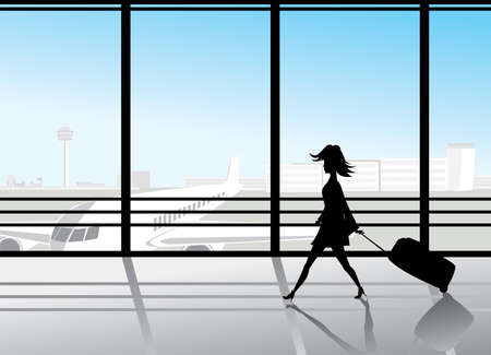 silhouette of girl walking by the airport window