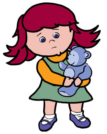 sad little girl holding a toy bear in her arms Stock Vector - 7118102