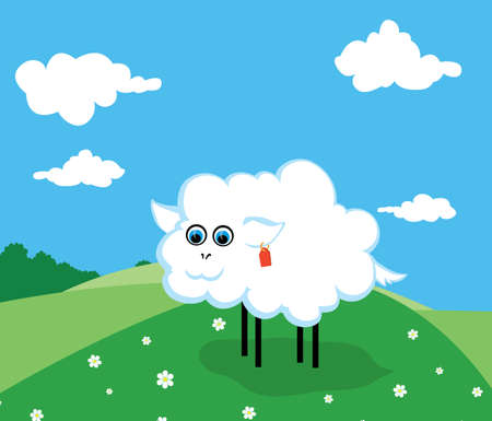 smiling sheep on a green pasture with the flowers Stock Vector - 7118098