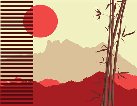 japanese theme with bamboo and mountains silhouettes at the background