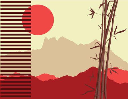 Japanisch-Thema mit Bambus und Berge Silhouetten im Hintergrund  Standard-Bild - 7118097