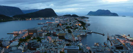 alesund: view  from the mountain Aksla at the city of Alesund , Norway. White night time  shoot  Stock Photo