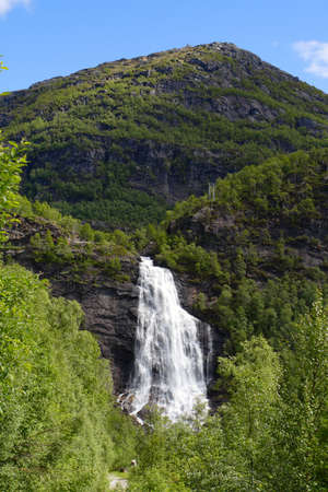 large waterfall in the summer woods, norway Stock Photo - 7369215