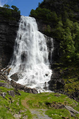 large waterfall in the summer woods, norway Stock Photo - 7711603