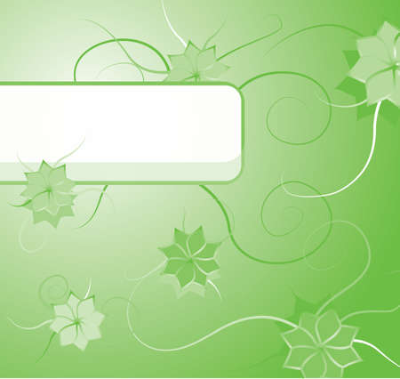 floral background in green tones with blank label for the title Vector