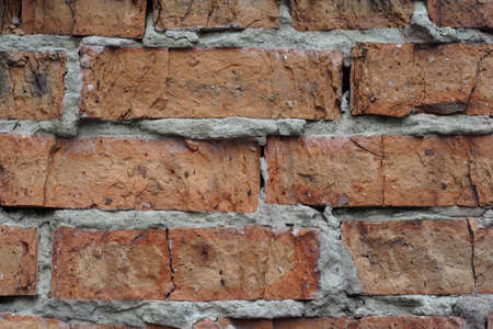 dilapidated: brick wall background. Dilapidated building