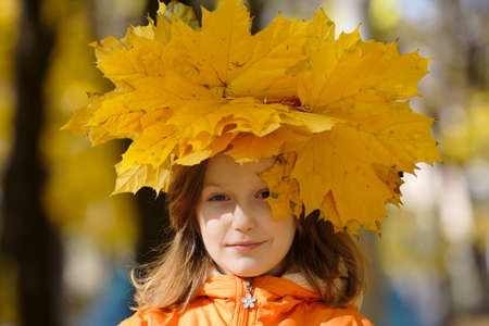 young girl with diadem from yellow maple leaves at the park   photo