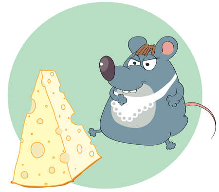 cartoon sitting mouse looking at the cheese Vector