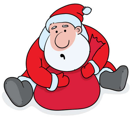 greedy Santa sitting and strongly holding his sack with the gifts Vector