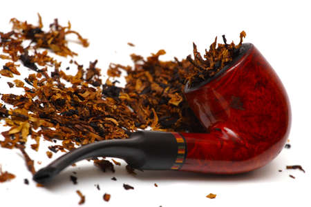 tobacco-pipe with tobacco on a white background
