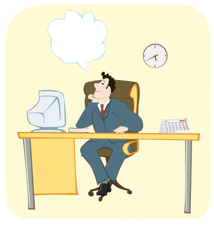 dreaming office worker on his work place sitting and dreaming about Illustration