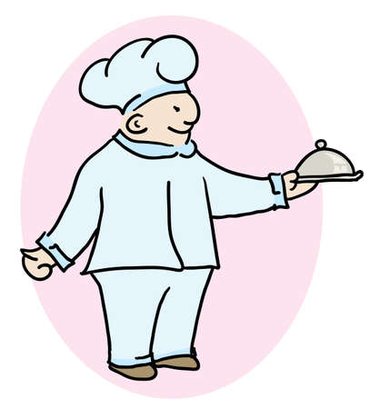 specialty: chef cook holding a specialty of the house at his hands