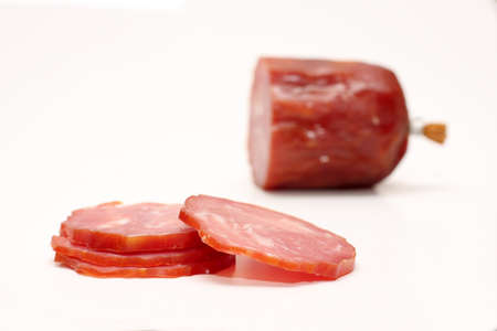 sausage on a white background close-up