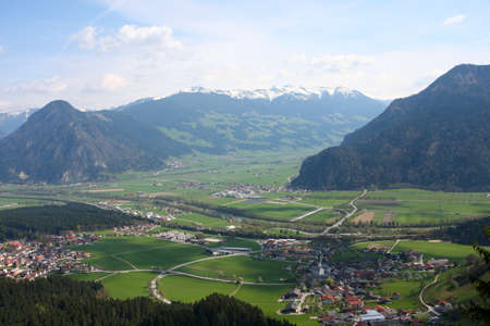 panorama of wide valley and mountain villages with mountains in the distance, Austria Stock Photo - 9678544