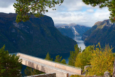 view of beautiful norwegian fjord with foresty cliifs . photo