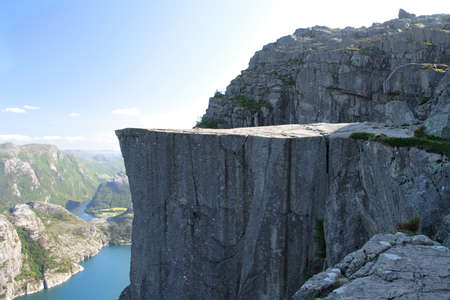 Preikestolen - famous cliff at the norwegian mountains. photo