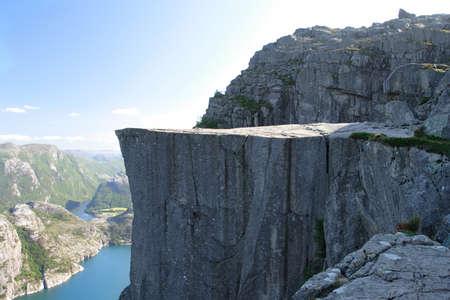 Preikestolen - famous cliff at the norwegian mountains. Stockfoto