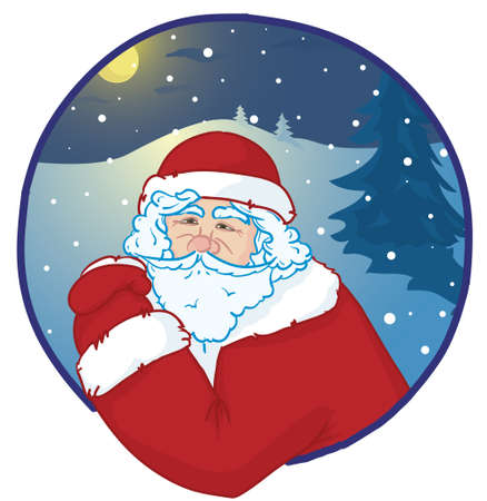 portrait of smiling Santa Claus with snowy night forest at the background Stock Vector - 11419016