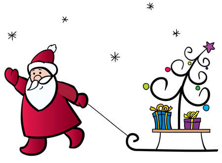 Santa Claus pulling a sledge with the Christmas tree and gifts Vector