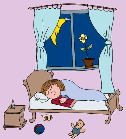 smiling girl sleeping on a bed in her room with the book at her hands Vector