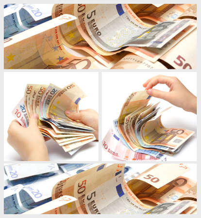 batch of euro: collage made with euro banknotes and hands