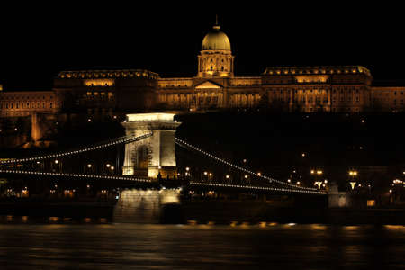 lampe: beautiful building  in the Budapest at the night time illuminated by a lot of lights Stock Photo