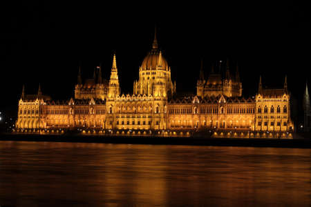 lampe: beautiful building of Hungarian parliament it the Budapest at the night time illuminated by a lot of lights