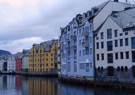 alesund: view with sea-front at the city of Alesund , Norway. White night time  shoot