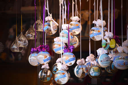 close up details of christmas markets. Christmass tree decorations. Vienna, Austria photo