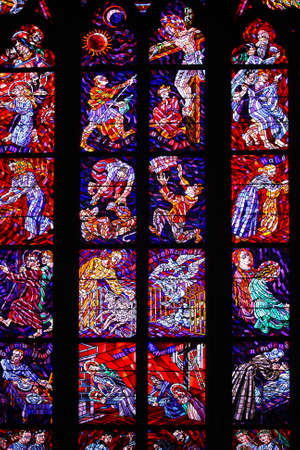 praha: stained-glass window in the St. Vitus cathedral. praha