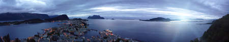 alesund: panorama view  from the mountain Aksla at the city of Alesund , Norway. White night time  shoot