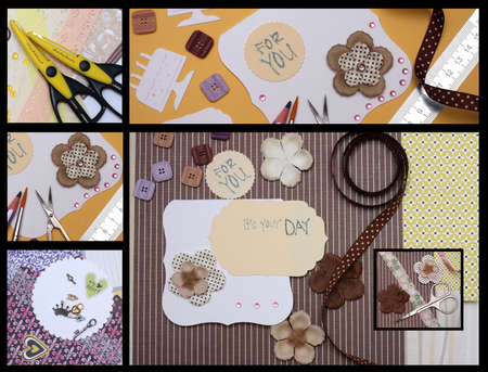 collage - hand made scrapbooking post card and tools lying on a table  photo