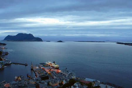 alesund:  view  from the mountain Aksla at the city of Alesund , Norway. White night time  shoot