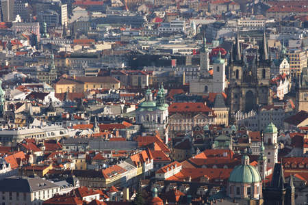 views of old town Prague with beautiful old buildings, Czech republic  photo