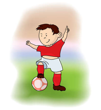 happy cartoon soccer player with the ball and the hand lifted up Иллюстрация