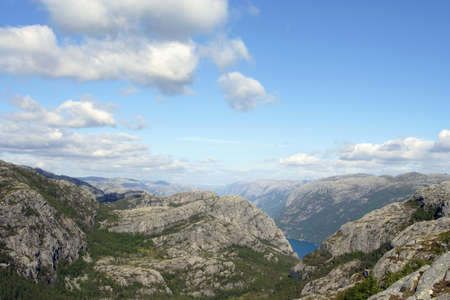 view of the Lysefjorden fjord. Made from the Prekistolen cliff, norway