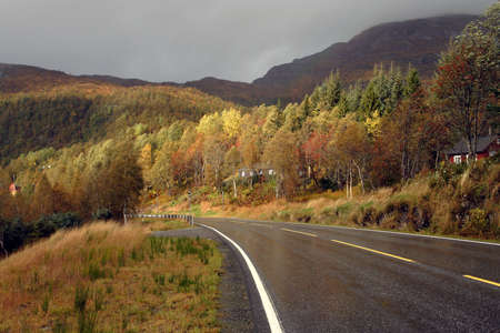 autumn road at the norwegian mountains  photo