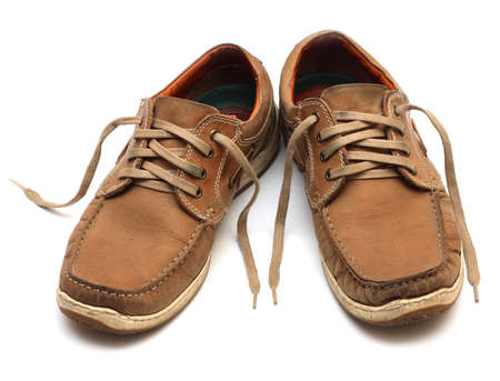 mens: brown man shoes isolated on a white background  Stock Photo